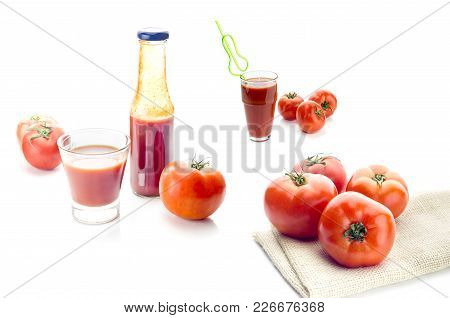 Collage. Red Tomato Juice In A Glass And A Bottle, Fresh Tomatoes On A White Background Close-up