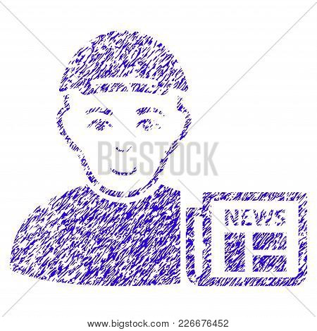 Grunge News Reader Rubber Seal Stamp Watermark. Icon Symbol With Grunge Design And Scratched Texture