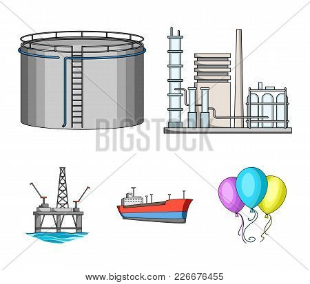 Oil Refinery, Tank, Tanker, Tower. Oil Set Collection Icons In Cartoon Style Vector Symbol Stock Ill