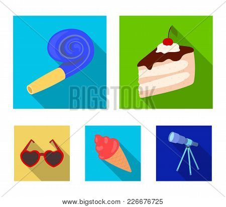 Refreshments And Other Accessories At The Party.party And Partits Set Collection Icons In Flat Style