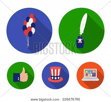 Balloons, Inkwell With A Pen, Uncle Sam's Hat. The Patriot's Day Set Collection Icons In Flat Style