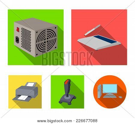 Power Unit, Dzhostik And Other Equipment. Personal Computer Set Collection Icons In Flat Style Vecto