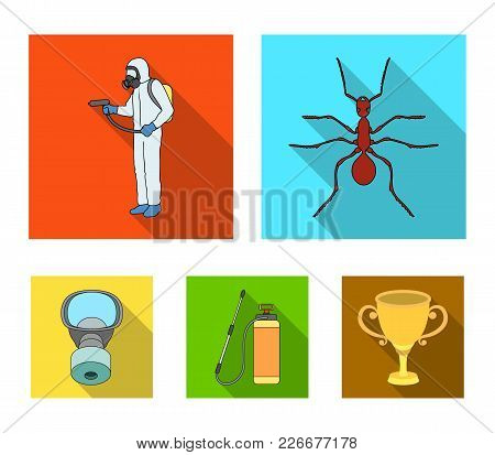 Ant, Staff In Overalls And Equipment Flat Icons In Set Collection For Design. Pest Control Service V