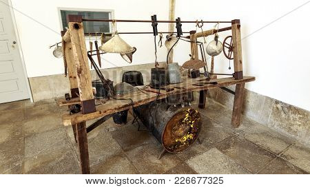 Peniche, Portugal - October 8, 2017: View Of The Pathetic Torture Table Used Between 1934 And 1974 I