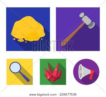 A Jeweler's Hammer, A Magnifier, A Copper Ore, A Crystal. Precious Minerals And A Jeweler Set Collec