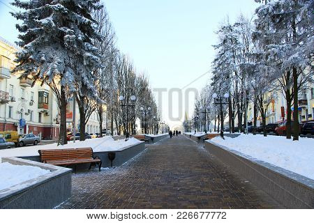Chernihiv / Ukraine. 24 January 2018: Beautiful Winter Park With Trees Benches And Path. 24 January