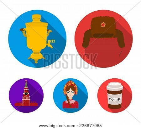 Clothes, Woman, Kremlin, Building .russia Country Set Collection Icons In Flat Style Vector Symbol S