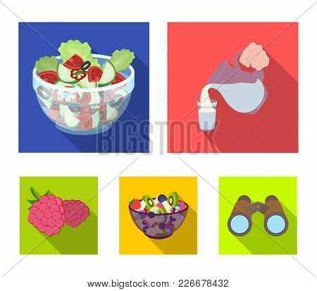 Fruit, Vegetable Salad And Other Types Of Food. Food Set Collection Icons In Flat Style Vector Symbo