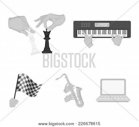 Playing On An Electric Musical Instrument, Manipulation With Chess Pieces And Other  Icon In Monochr