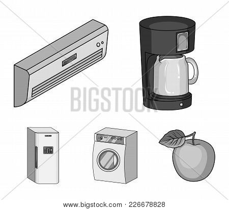 Home Appliances And Equipment Monochrome Icons In Set Collection For Design.modern Household Applian