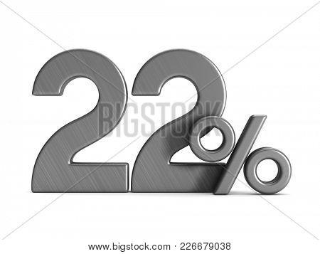 twenty two percent on white background. Isolated 3D illustration