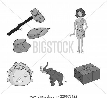 Weapon, Hammer, Elephant, Mammoth .stone Age Set Collection Icons In Monochrome Style Vector Symbol