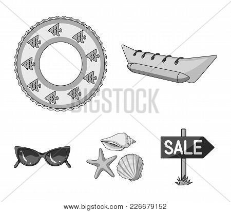Water Attraction, Seashells, Goggles.summer Vacation Set Collection Icons In Monochrome Style Vector