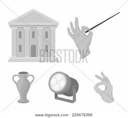 Conductor's Baton, Theater Building, Searchlight, Amphora.theatre Set Collection Icons In Monochrome
