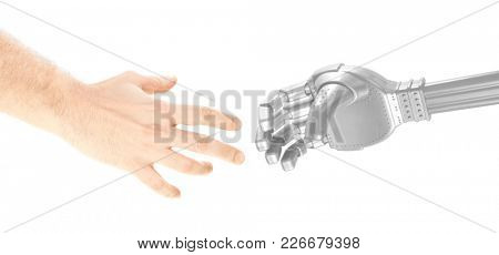 Human and robot are making deal concept future