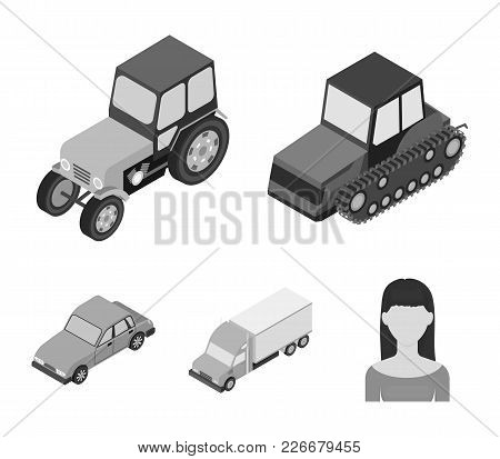 Tractor, Caterpillar Tractor, Truck, Car. Transport Set Collection Icons In Monochrome Style Vector