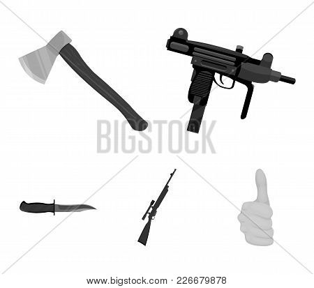 Ax, Automatic, Sniper Rifle, Combat Knife. Weapons Set Collection Icons In Monochrome Style Vector S