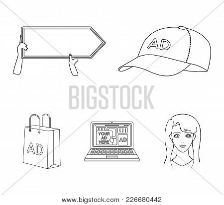 Baseball Cap, Pointer In Hands, Laptop, Shopping Bag.advertising, Set Collection Icons In Outline St