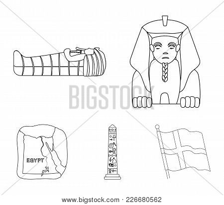 The Territory Of Egypt, The Sphinx, The Pharaoh's Sarcophagus, The Egyptian Pillar With The Inscript