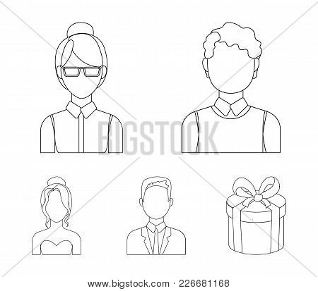 Girl With Long Hair, Blond, Curly, Gray-haired Man.avatar Set Collection Icons In Outline Style Vect