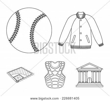 Playground, Jacket, Ball, Protective Vest. Baseball Set Collection Icons In Outline Style Vector Sym