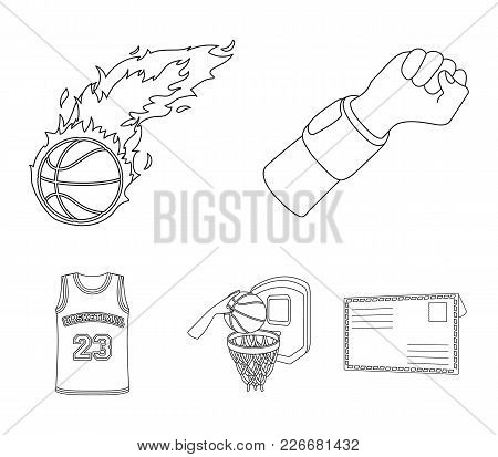 Hand With A Bandage, A Fireball, A Ball In The Basket, A Form. Basketball Set Collection Icons In Ou