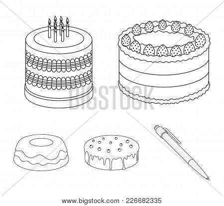 Sweetness, Dessert, Cream, Treacle .cakes Country Set Collection Icons In Outline Style Vector Symbo