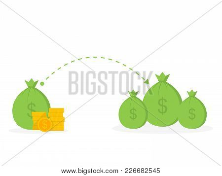 Money Transfer In Money Bag, Money Donations, Vector Illustration.