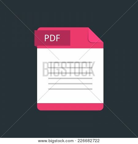 Pdf File Type Icon. Vector Illustration Isolated On A Dark Blue Background.
