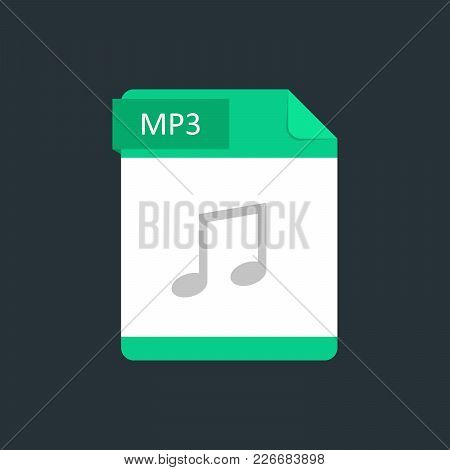 Mp3 File Type Icon. Vector Illustration Isolated On A Dark Blue Background.