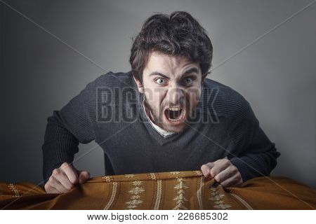 Furious And Frustrated Man Yelling In Rage, Screaming At You Loudly