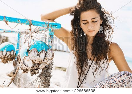 Beautiful Young Woman Natural Outdoors Portrait Near By Fish Net