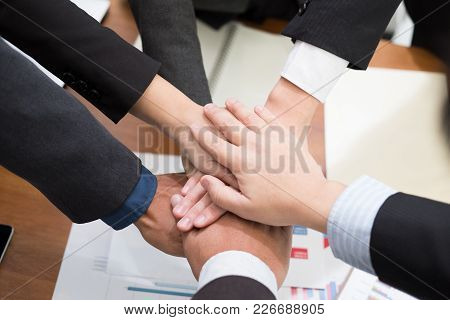 Businessman Joining Hand, Business Team Touching Hands Together - Unity, Harmony, Teamwork, Partners
