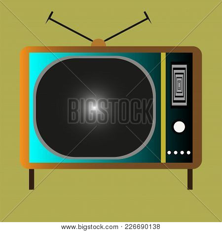 Retro Vintage Tv With Antena And Buttons