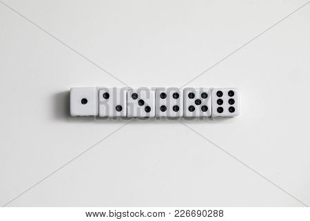 Dice Shot Up Close On A White Background, 1 Through 6