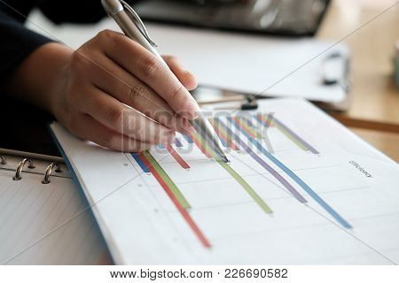 Financial Inspector Analyze Accounting Plan Report. Businesswoman Working With New Startup Project.