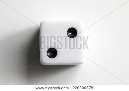 Dice Shot Up Close On A White Background, Two