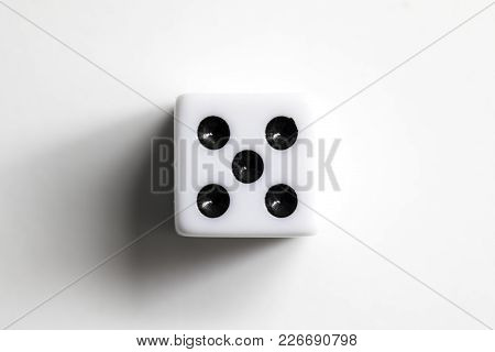 Dice Shot Up Close On A White Background, Five