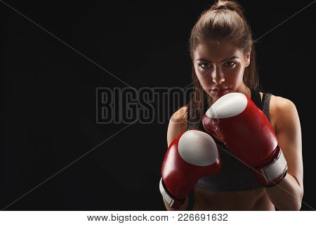 Gorgeous Young Woman With Boxing Gloves, Standing In The Defending Position, Ready To Fight, Copy Sp