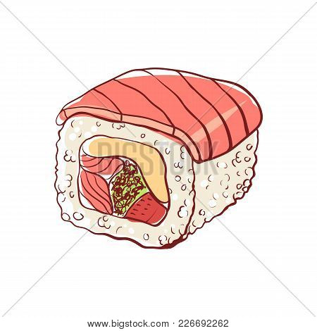 Sushi Roll With Salmon Icon Isolated On White Background. Japanese Cuisine Dish Label, Asian Fish Re