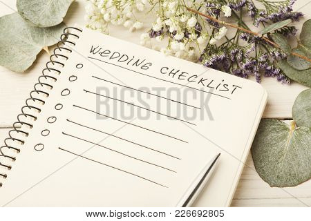Wedding Checklist With Copy Space And Cute Flowers On The White Desktop. Marriage Planner Concept, C