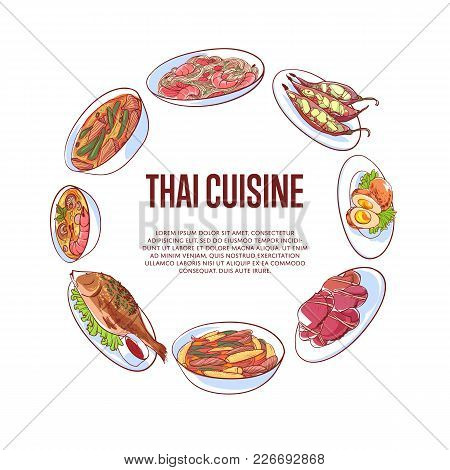 Thai Cuisine Poster With Famous Asian Dishes Vector Illustration. Restaurant Menu Cover Wit Tom Yam
