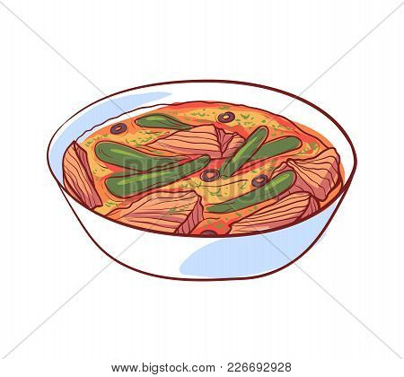 Thai Soup With Meat Icon Isolated On White Background. Thai Cuisine Dish Label, Asian Fish Restauran
