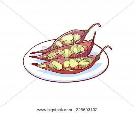 Green Papaya Salad Icon Isolated On White Background. Thai Cuisine Dish Label, Asian Fish Restaurant