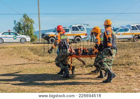 Nakhon Ratchasima, Thailand - December 23, 2017: Rescue Team Carrying Injured Passenger To Hospital