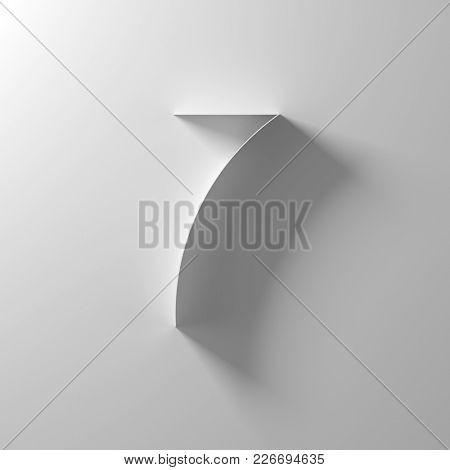 7, seven, white paper number, 3d illustration