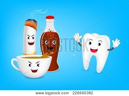 Cute Cartoon Tooth Character Fear Acid Of Coffee, Aerated Soft Drink And Cigarette. Dental Care Conc