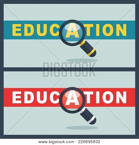 Illustration Of Education Word With Magnifier Concept