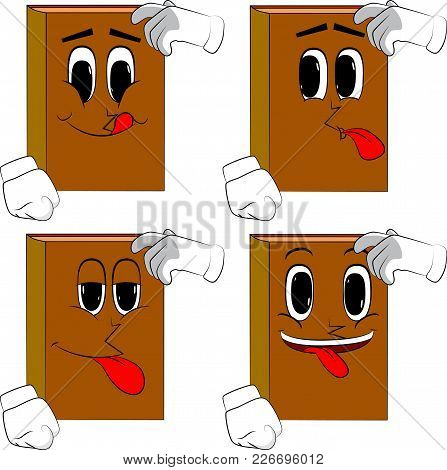 Books Confused. Cartoon Book Collection With Happy Faces. Expressions Vector Set.