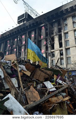 LGBT activists pro-Poroshenko riot. Gays for war against Russia and Eastern Regions. So-called Revolution of Dignity.Vandalism in downtown. April 19, 2014 Kiev, Ukraine
